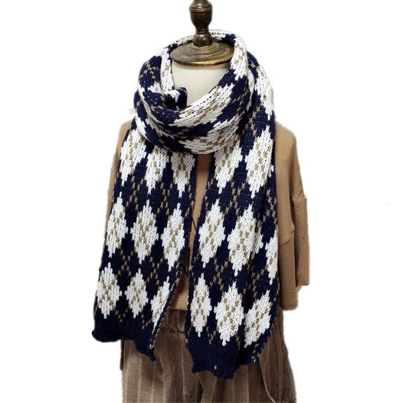 Fashion Plaid Scarf Classic Winter Children Warm Little-Girl Boys New for Knitted Korean