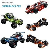 THINKEASY Super Pull Back Car Block Transformation Car Game Toys Action Figures Block Birthdays Gift