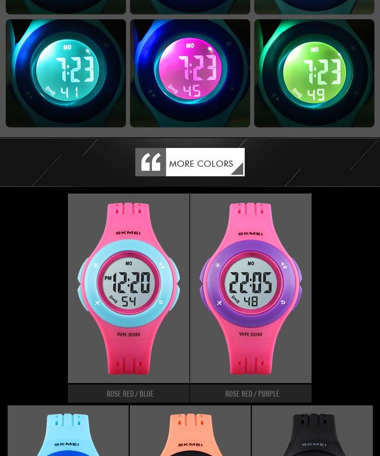 SKMEI Fashion Men Quartz Watch Children Digital Watch Big Dial Waterproof Parent-child Watches relogio masculino 9185 1455 Set 17