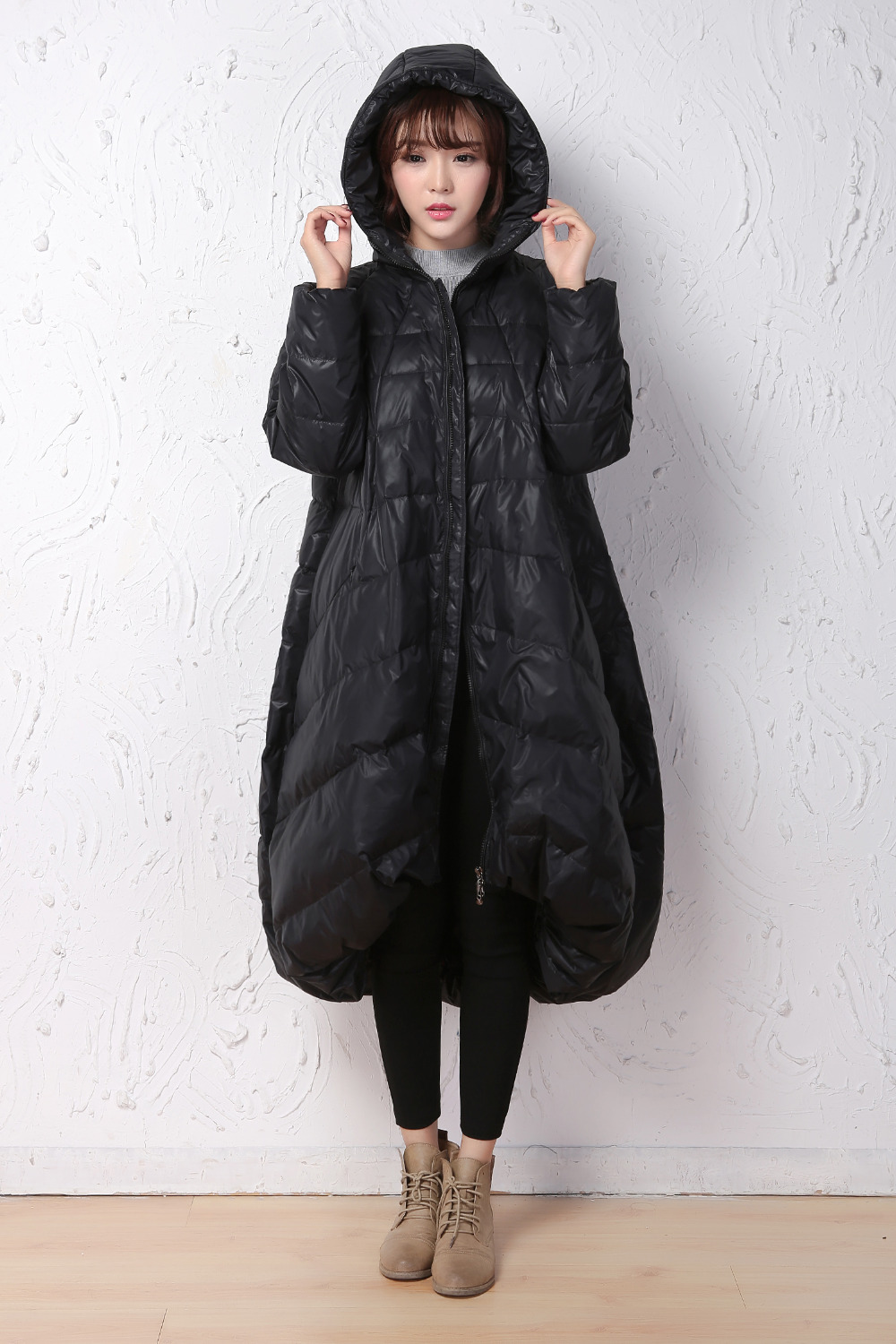 Loose Style   Down     Coat   Short Front Winter   Coat   Large Hem   Down     Coat