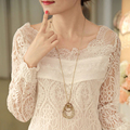 New Elegant Lace Blouse Female White Shirt Femme Full Sleeve V-Neck Womens Tops And Blouses Casual Shirt Autumn