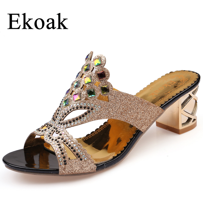 Ekoak New 2017 fashion rhinestone cut-out women sandals Square heel slip-on Ladies summer shoes party woman high heel sandals new women sandals low heel wedges summer casual single shoes woman sandal fashion soft sandals free shipping