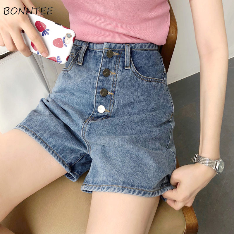 Shorts Women Trendy Elegant All-match High-quality Korean Style Single Breasted Leisure Daily Womens Female Lovely Simple Solid