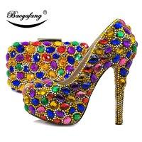 BaoYaFang/Золотые/серебряные разноцветные женские свадебные туфли и сумочка, туфли на высоком каблуке и платформе с сумочкой в комплекте, компл