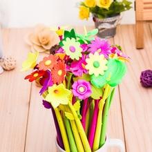 Cute Pens Flower Black Stationery Office-Supplies Rubber Kawaii-Pen Plant Novelty School