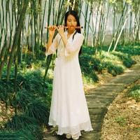 L Hot White Women Cotton Linen Qipao Long V Neck Solid Chinese Traditional Dress Ladies Elegant National Cheongsam Vestidos