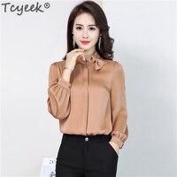 Настоящие шелковые рубашки женские топы и блузки блуза с длинными рукавами корейские демисезонные модные блузки 2019 WW015