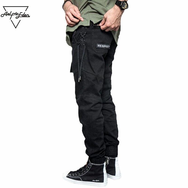 Aelfric Eden Belt Pants Men Black Feet Cargo Pants Side Weave Spliced Man Casual Pants Hip Hop Zipper Pocket Slim Fit Trousers