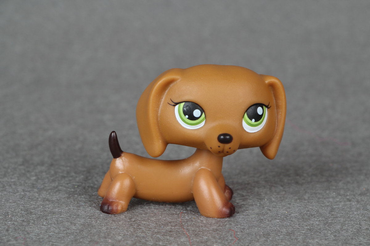 Rare #139 Pet Shop Brown Dachshund Dog Puppy with Green Eyes LPS genuine pet shop 577 brown white