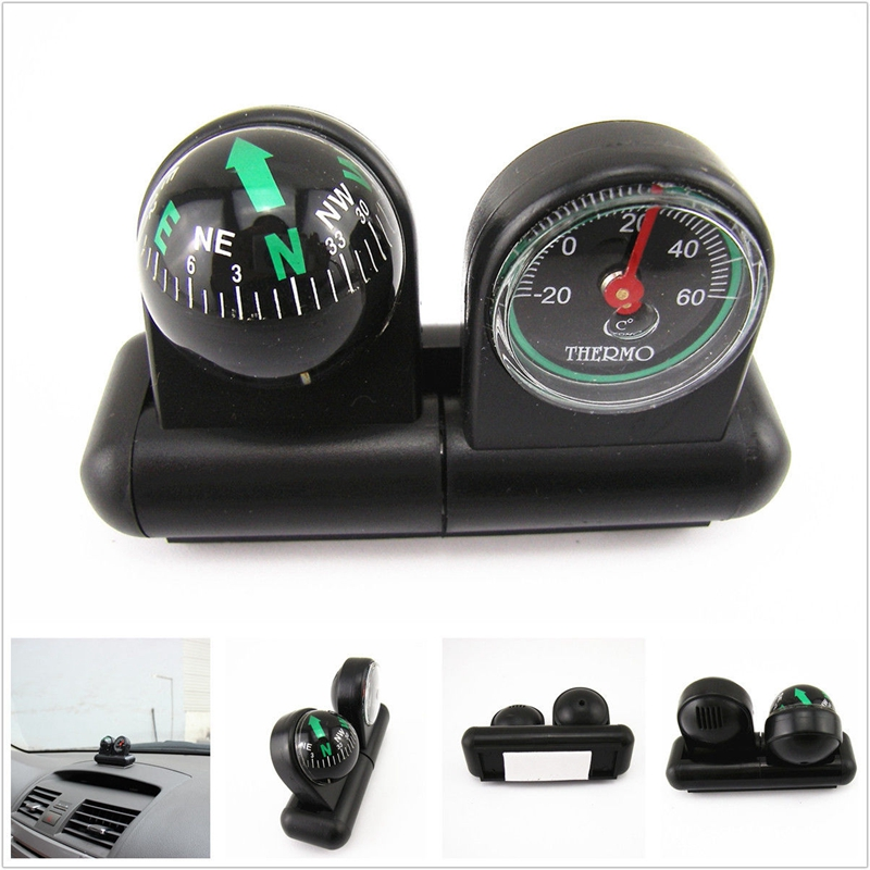 Multifunction Car Compass Thermometers Outdoor Travel Car Accessories Tool Level Wave Truck Mini Compass Decorations A8058 ...
