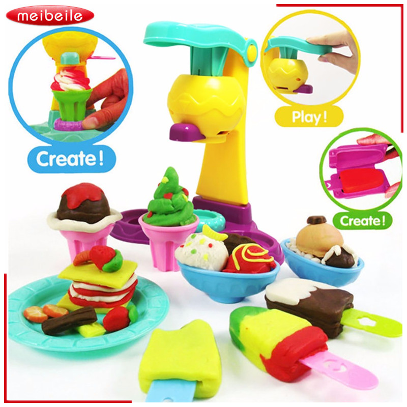 3D Safety Plasticine Playdough Ice Cream Sets Moulds Play Kit Color Dough Kid Pretend Play Education Children DIY Toys Girl Gift playdough clay dough ice cream mould play kit educational play doh plasticine diy toy