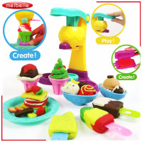 3D Safety Plasticine Playdough Ice Cream Sets Moulds Play Kit Color Dough Kid Pretend Play Education Children DIY Toys Girl Gift
