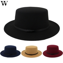 6543775f09a Womail hat summer fedoras Unisex Wide Brim Wool Belt Felt Flat Top Fedora  Hat Party Church