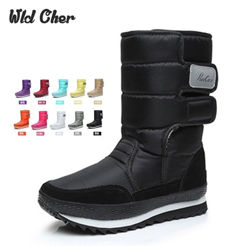 2017 Autumn Winter Casual Snow Boots Waterproof Women Mid  Calf Boots Thermal Flat Slip-resistant  Winter Shoes Woman 10 Colors double buckle cross straps mid calf boots