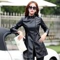 Корейская версия Сращивания новый кожаный куртка женщин Ветровка длинные участки Тонкий кожаное пальто