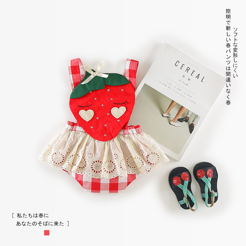 Toddler Infant Baby Girl Clothing Sleeveless Strap Bodysuit Cute Strawberry Plaid Cotton Jumpsuit Clothes Baby Girls Outfit