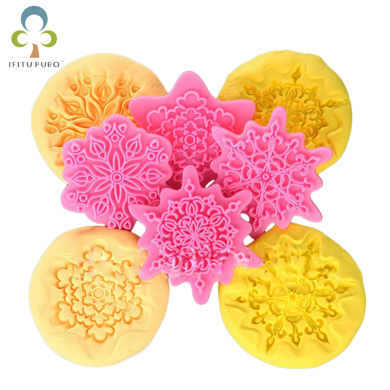4Pcs/lot Flower Shape Cake Embosser Lace Press Mold Biscuit Stamps Fondant Sugarcraft Cookie Cutter Kitchen Tools Baking GYH