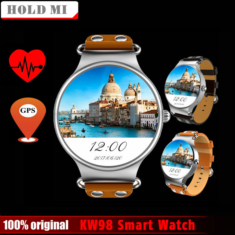 2017 New Hold Mi KW98 Smart Watch Android 5.1 3G WIFI GPS Watch MTK6580 Smartwatch for iOS Android Phone PK KW88