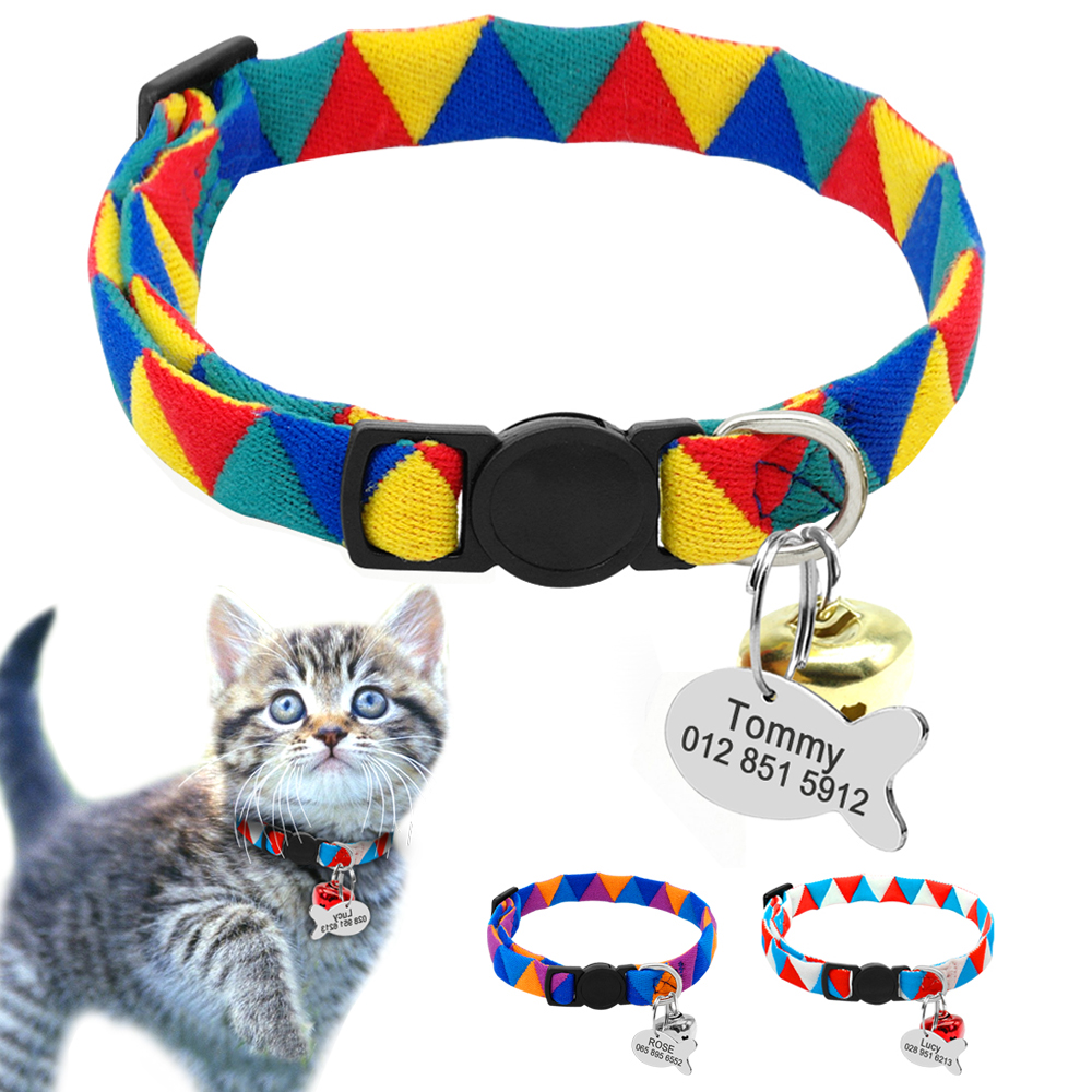 Personalized Cat Puppy Collar Quick Release Nylon Kitten Puppy Engraved Collars Safety F ...