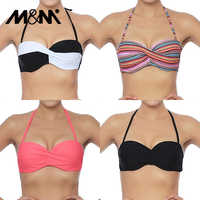 M&M Women Sexy Micro Bikini Top Halter Swimwear Brazilian Biquini Cross Ruched Bra Push Up Bathing Suit Solid Swimsuit T607
