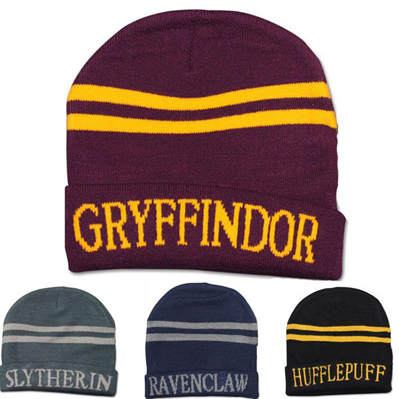 Harry Potter Gryffindor Cap Soft Warm Costume Cosplay Thicker Embroidered Letter Cap Halloween Christmas Gifts Anime Cosplay Toy