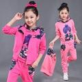 Meninas novas roupas de outono crianças esporte terno conjunto de roupas meninas dos desenhos animados com capuz de impressão 3 pcs 3-15 anos de miúdos roupas de treino