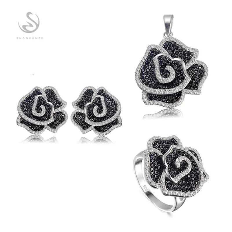 Eulonvan ensembles de bijoux de luxe en argent 925 bijoux en argent sterling (bague/boucle d'oreille/pendentif) zircon cubique blanc et noir S-3789set