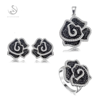 Eulonvan luxury jewelry sets silver 925 sterling silver jewelry (ring/earring/pendant) White and Black Cubic Zirconia S 3789set