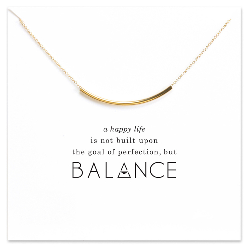 2018 New Curved Hollow Tube Pendant Short Chain Choker Necklace For Women Golden wish necklace with card Jewelry As gift BALANCE image