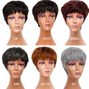 Image 5 - Amir Kurze perücken Synthetische Haar Puffy Schwarz Mixed Blonde Braun Grau Gerade Perücke Kurze Pixie Haarschnitt Stil Mama Perücken für frauen