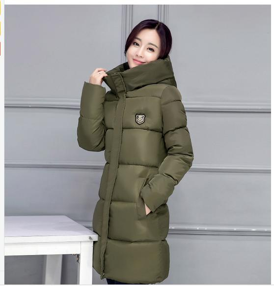 2017 Winter coats new Korean long section women   basic     jackets   coat of female cotton padded   jacket   solid color hooded   jacket