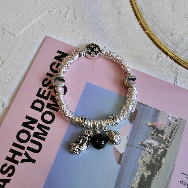 silver jewelry Chinese wind natural black agate maxim the mythical wild animal ms crystal bracelet adorn articlesilver jewelry Chinese wind natural black agate maxim the mythical wild animal ms crystal bracelet adorn article