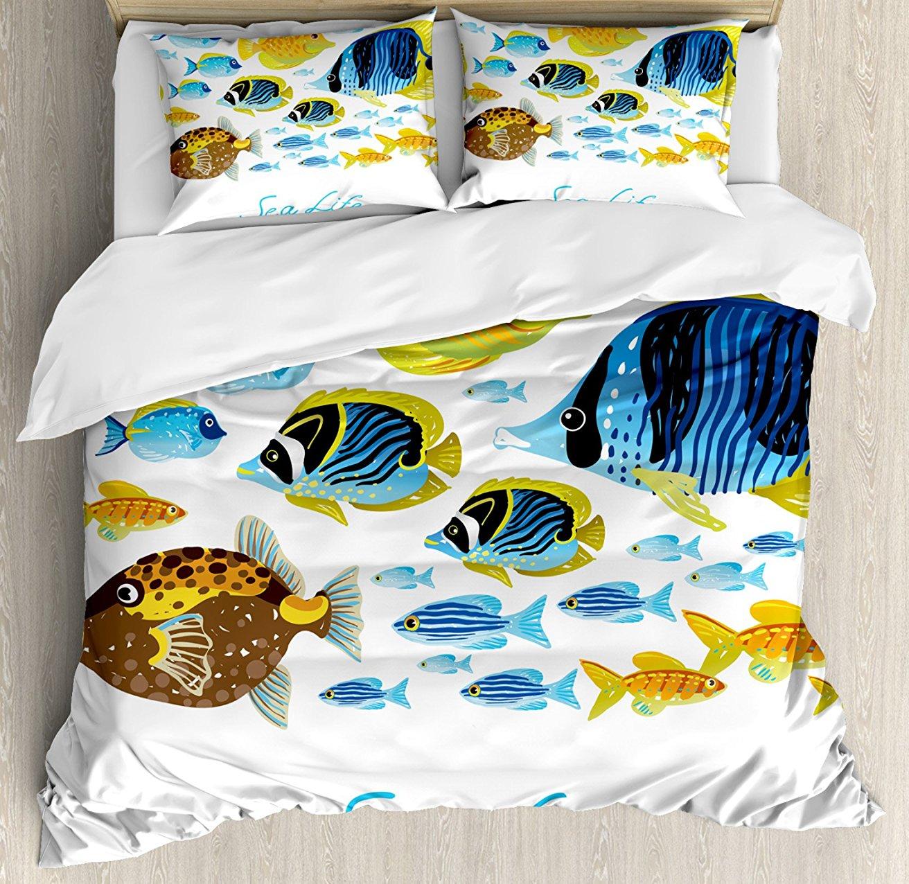 Ensemble de housse de couette poisson vie sauvage sous-marine vive avec des créatures de poissons tropicaux d'eau douce thème de la mer ensemble de literie 4 pièces