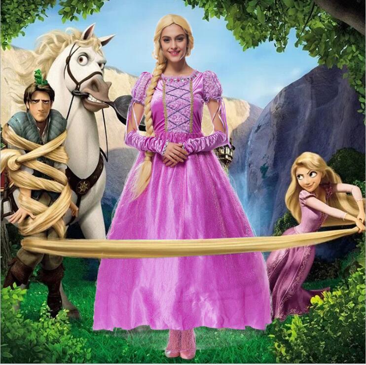 Free shipping princess Rapunzel Halloween sexy M-LCostumes Women Adult Costume fancy carnival Dress Cosplay for Women Girl