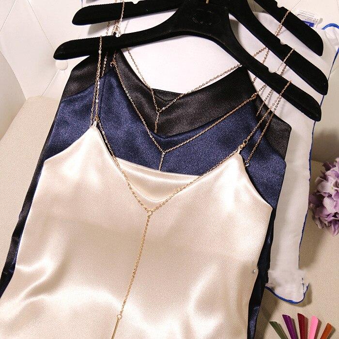 Satin Top Women Sexy Sleeveless V Neck Tank Top Beige Green Blue Black White Tops Female Camisole Tank Stinlicher Metal Strip