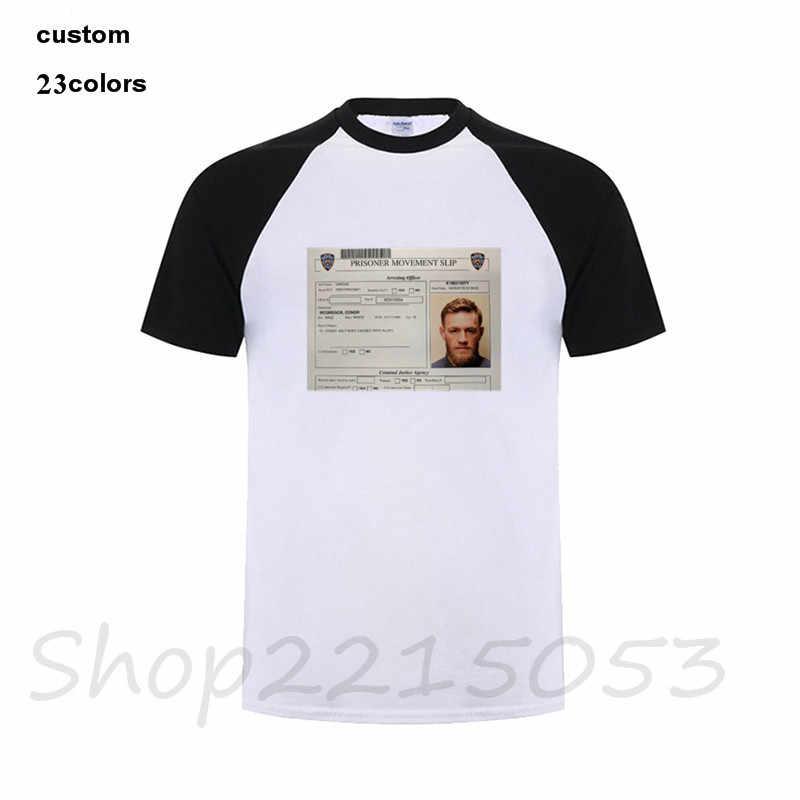 0b971786e ... 2018 Screen Print T-Shirt Oversize Conor Mcgregor Arrest t shirts Mens  MMA TShirt Summer ...