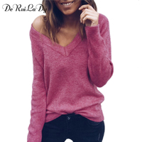 DeRuiLaDy Sexy V Neck Sweater Women Long Sleeve Loose Sweaters And Pullovers Winter Autumn Female Black