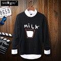 Blusas Otoño 2016 suéter nuevo diseño de cachemira hombres leche Larga suéter de manga larga suéteres de cuello redondo Pequeño puro y fresco hombres