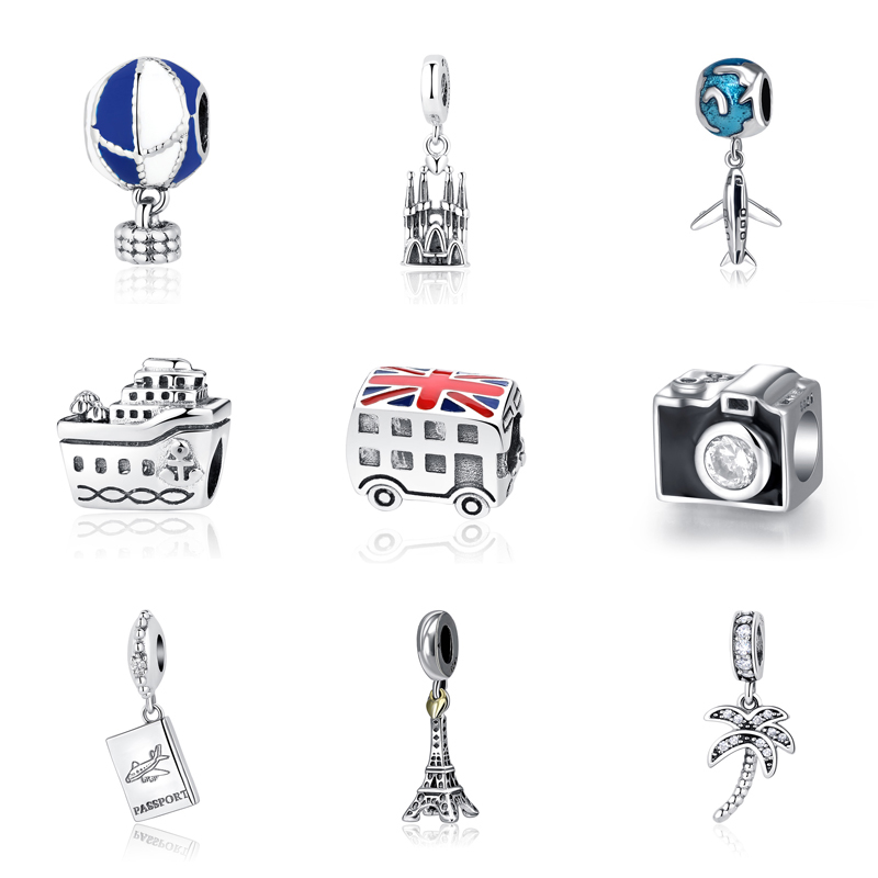 Original 100% 925 Sterling Silver Bead Charm Fit Pandora Bracelets Love Travel Palm Tree Eiffel Tower Charms Women Diy Jewelry eiffel tower charm bangle