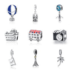 Original 100% 925 Sterling Silver Bead Charm Fit Pandora Bracelets Love Travel Palm Tree Eiffel Tower Charms Women Diy Jewelry