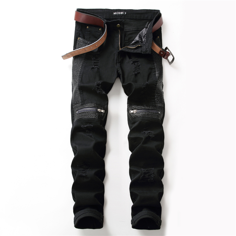 MORUANCLE New Fashion Men's Ripped Biker Jeans Leather Patchwork Distressed Motorcycle Denim Trousers With Knee Zipper Washed 2017 biker jeans mens high stretched zipper distressed jeans new fashion pantalones vaqueros hombre bmy1903