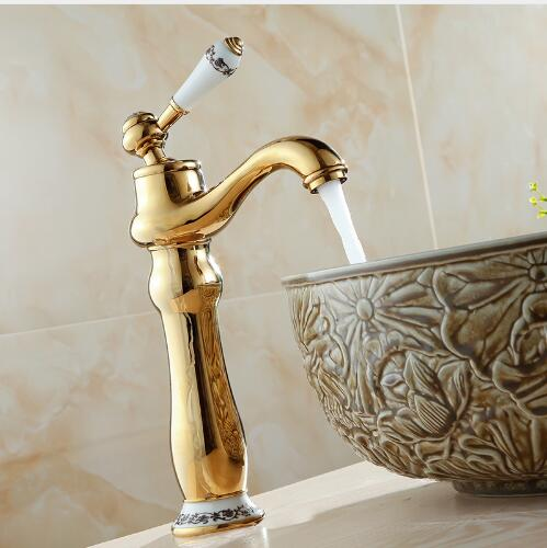 Free shipping Deck Mounted Golden Blue And White Porcelain Bathroom Faucet, Basin Faucet Mixer Single Handle Hot And Cold Water micoe hot and cold water basin faucet mixer single handle single hole modern style chrome tap square multi function m hc203