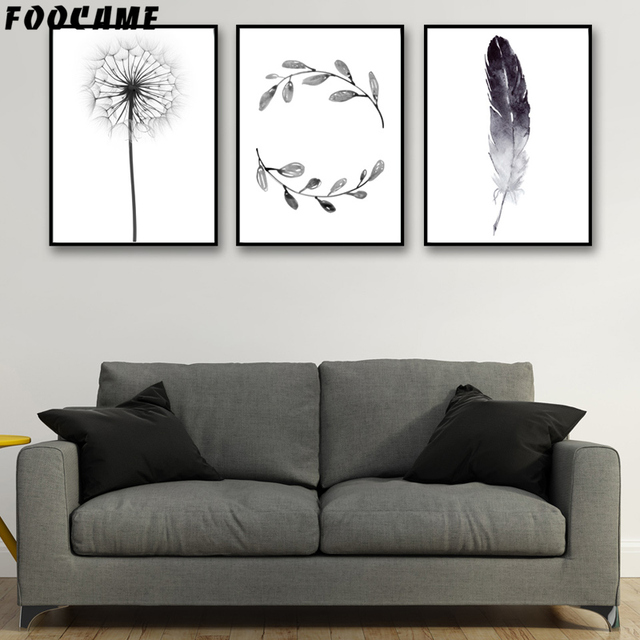 Dandelion Feather Leaves Nordic Posters Prints Art Canvas Painting Modern Home