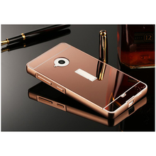 Caso espelho para nokia microsoft lumia 535 640 640xl ultra Luxo fina de Alumínio Armação de Metal + Acrílico Espelho de Volta Caso Capa Prote