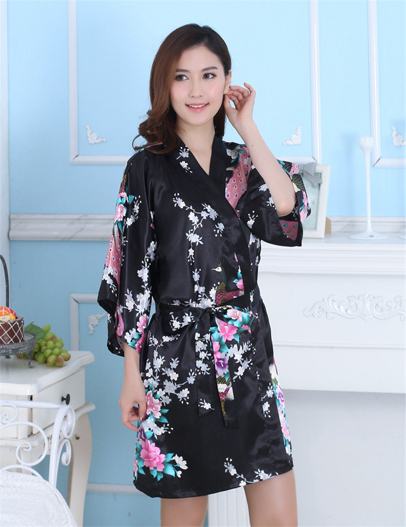 Autumn Kimono Artificial Silk Robe Sexy Bathrobe Floral Robes Women Print Floral Vestidos China Cheap Clothes Sleepwear