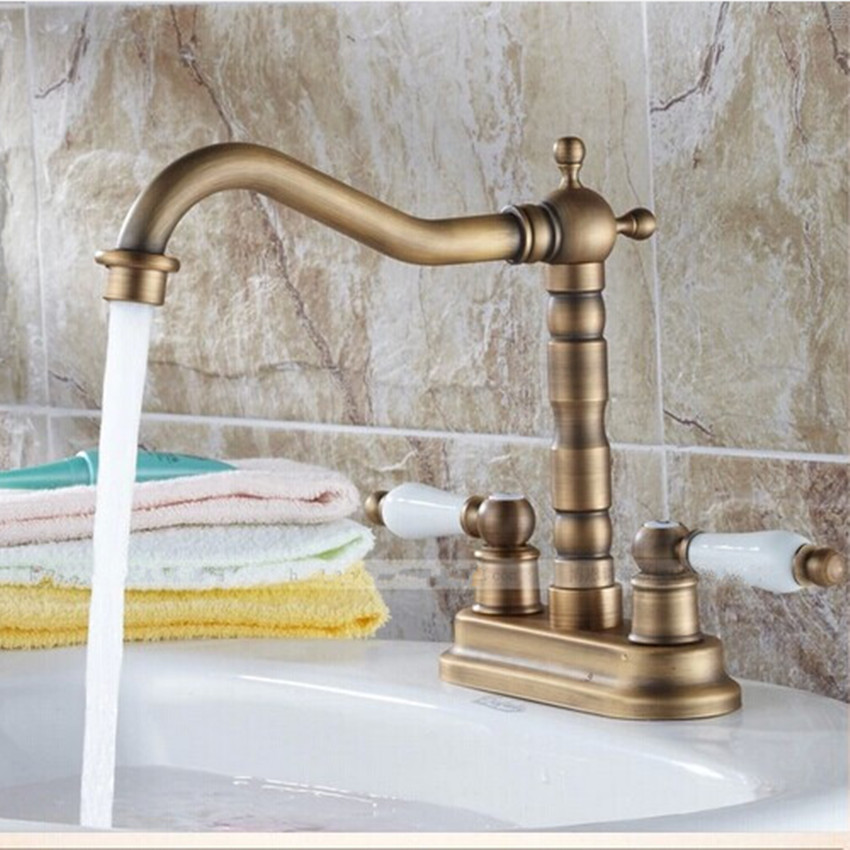 360 Degree Antique Brass Washbasin Hot And Cool Spin Bathroom Kichen Washroom Brass Double Handle Faucet European Fashion Faucet
