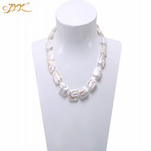 JYX Classic White&Lavender Baroque Freshwater Cultured Pearl Necklace Party Jewelry Gift  AAA 19""