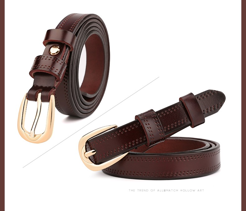 CASTELLES Split Leather Belts For Women Thin Strap Fashion Belt Female Genuine Leather Woman Metalic Buckle Girls High Quality (11)