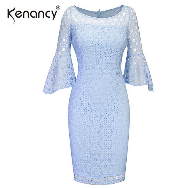 Kenancy Sexy 3 4 Bell Sleeve Big O Neck Light Blue Lace Dress Summer  Evening Party Solid Knee Length Bodycon Pencil Dress 2XL d6d685e84