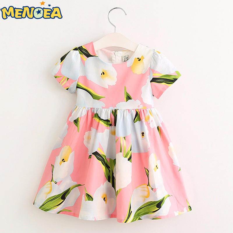 Menoea 2017 Brand New Summer European and American Style Girls Dress Kids Clothes Floral Print for Girl Princess Dress 100% real photo brand kids red heart sleeve dress american and european style hollow girls clothes baby girl clothes